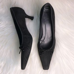 Stuart Weitzman black suede low heels